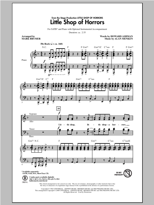 Partition chorale Little Shop Of Horrors de Mark Brymer - SATB