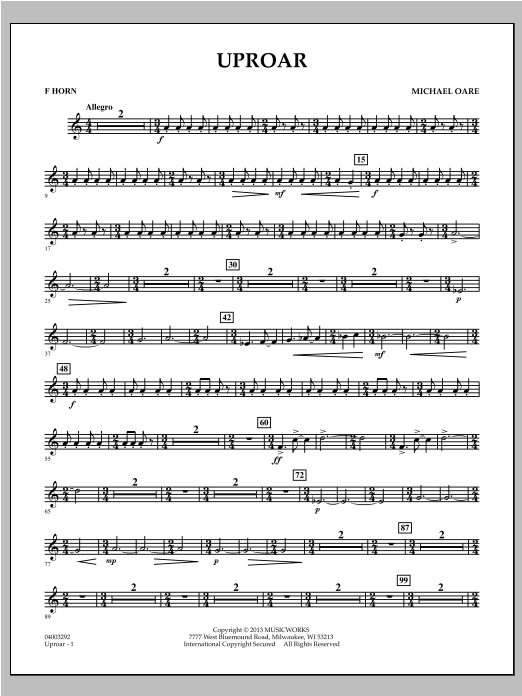 Uproar - F Horn Sheet Music