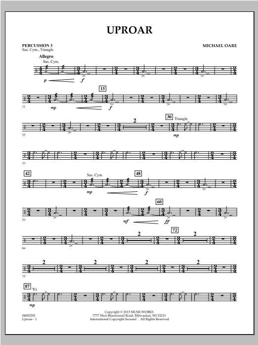 Uproar - Percussion 3 Sheet Music