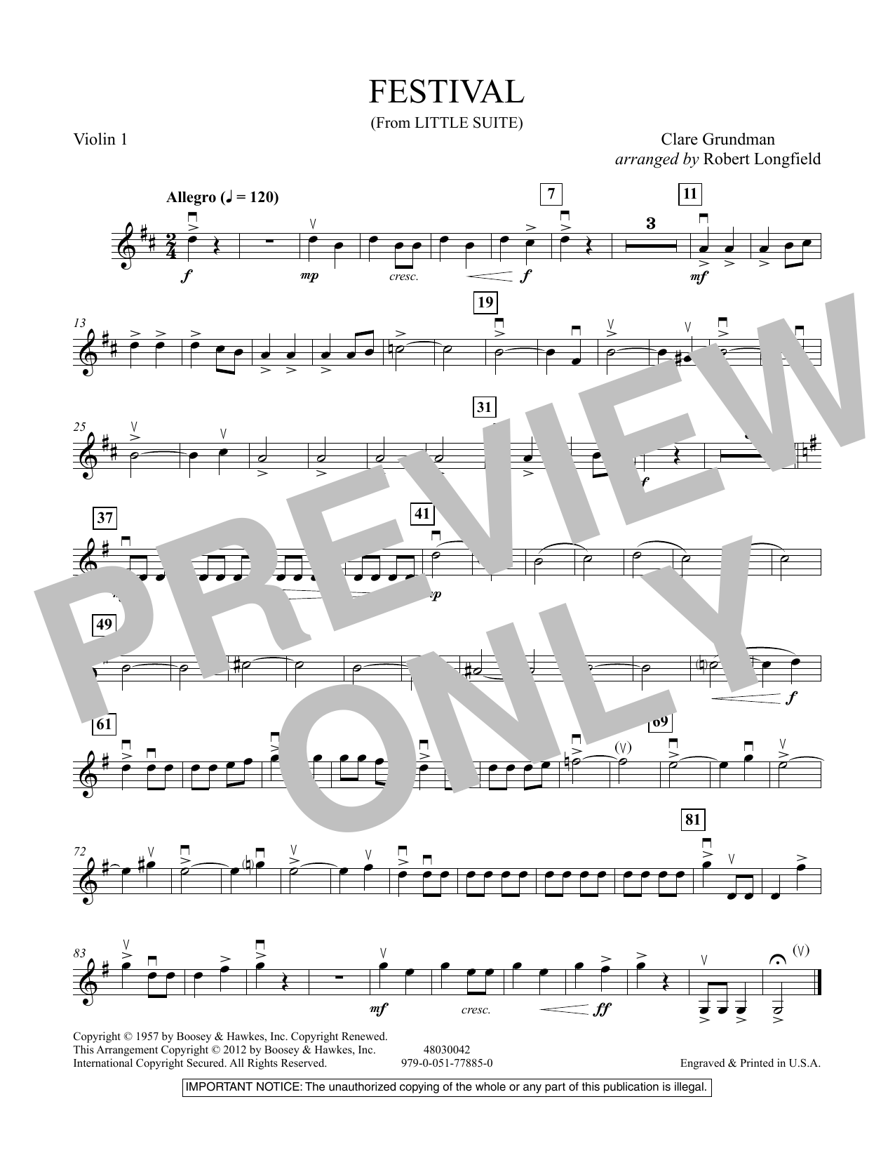 Festival (from Little Suite) - Violin 1 Sheet Music