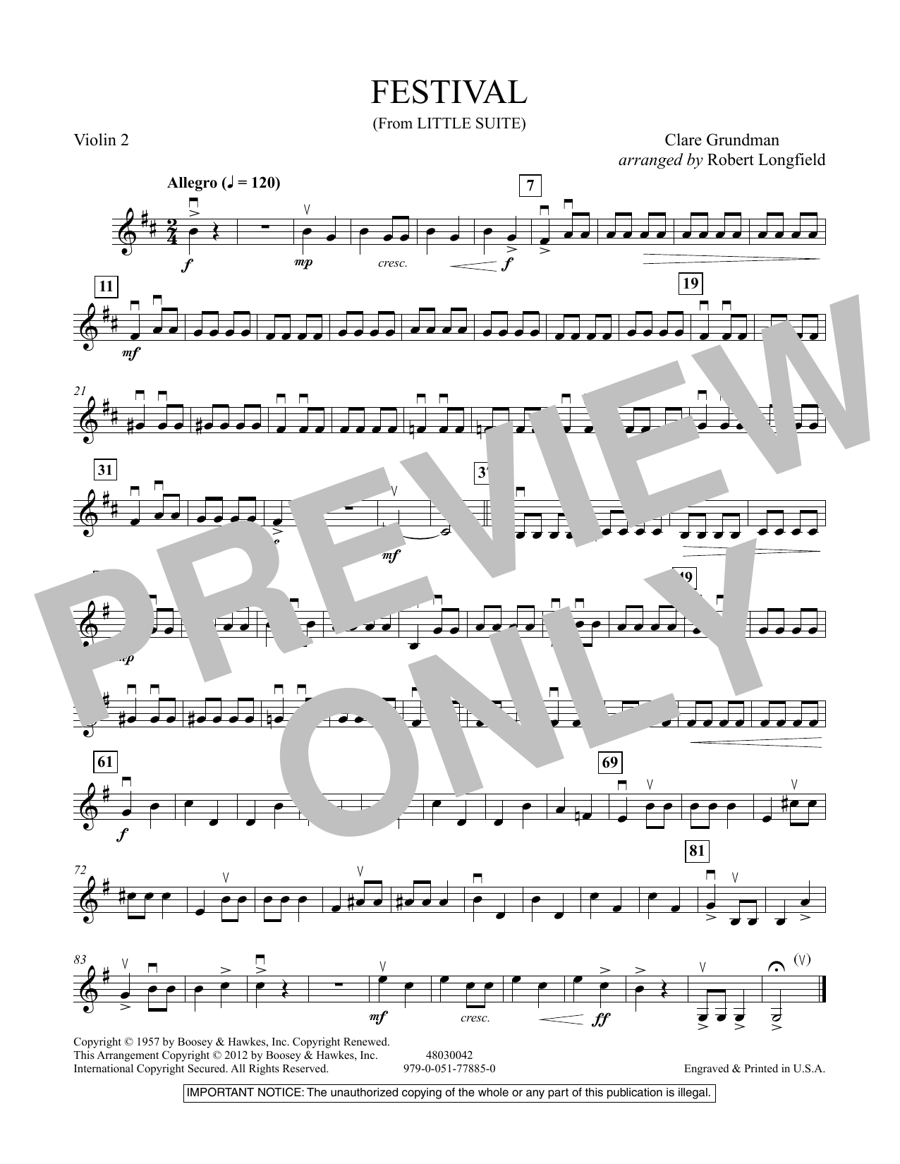 Festival (from Little Suite) - Violin 2 Sheet Music