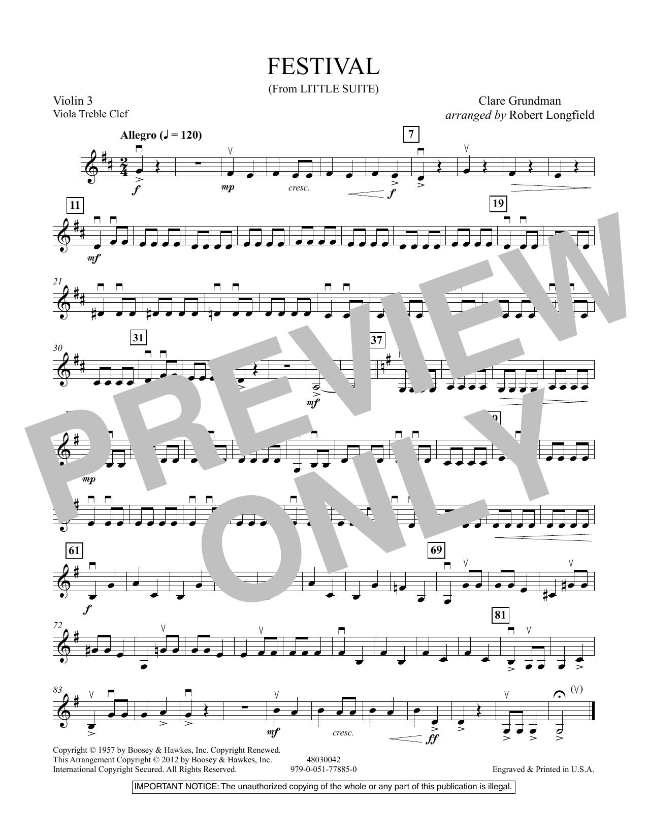 Festival (from Little Suite) - Violin 3 (Viola Treble Clef) Sheet Music