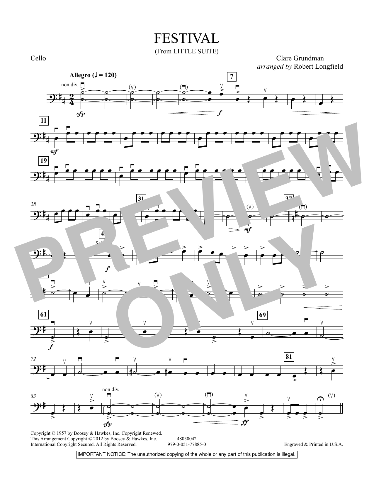 Festival (from Little Suite) - Cello Sheet Music