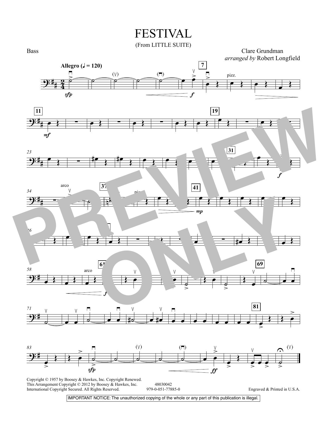Festival (from Little Suite) - Bass Sheet Music