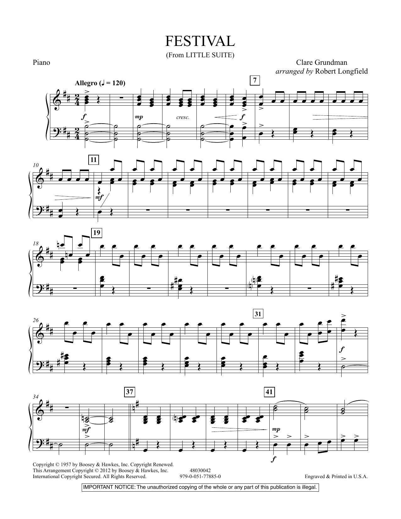 Festival (from Little Suite) - Piano Sheet Music