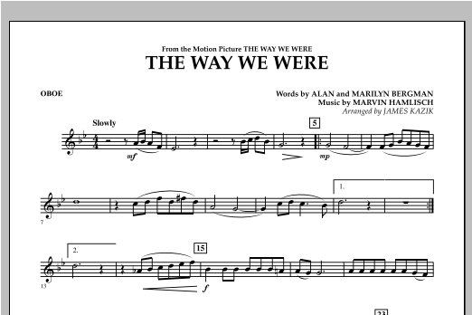 The Way We Were - Oboe Sheet Music