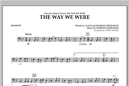 The Way We Were - Bassoon Sheet Music