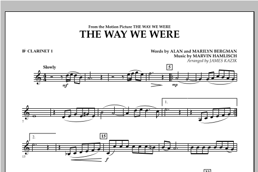 The Way We Were - Bb Clarinet 1 Sheet Music