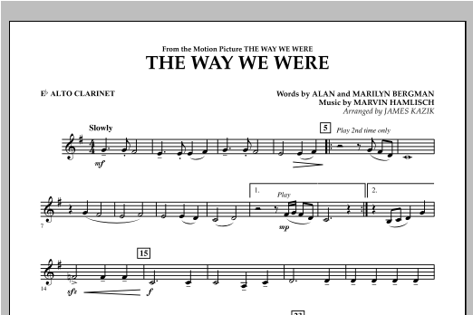 The Way We Were - Eb Alto Clarinet Sheet Music