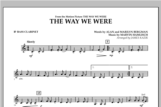 The Way We Were - Bb Bass Clarinet Sheet Music