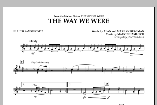 The Way We Were - Eb Alto Saxophone 2 Sheet Music