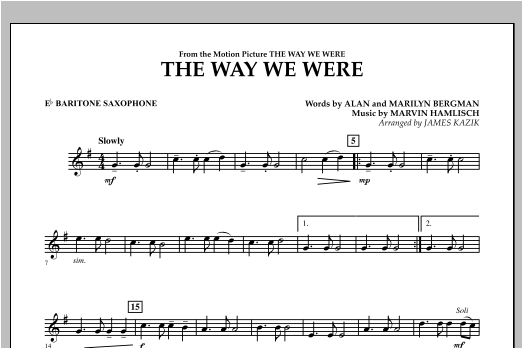 The Way We Were - Eb Baritone Saxophone Partituras Digitales