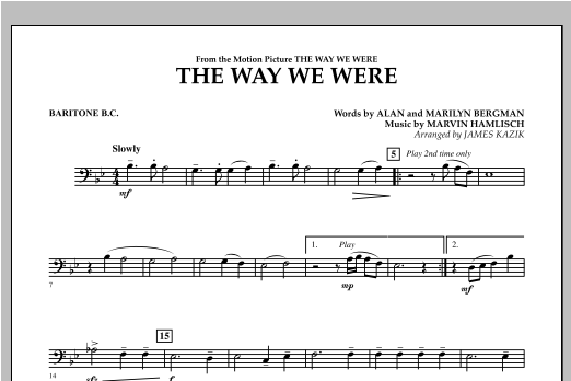 The Way We Were - Baritone B.C. Sheet Music