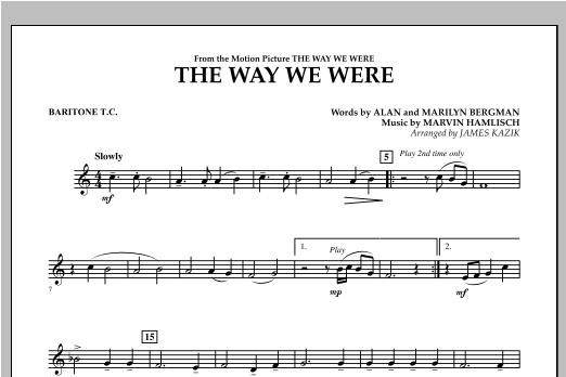 The Way We Were - Baritone T.C. Sheet Music