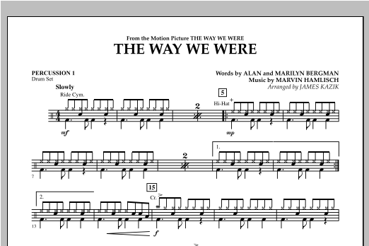 The Way We Were - Percussion 1 Sheet Music