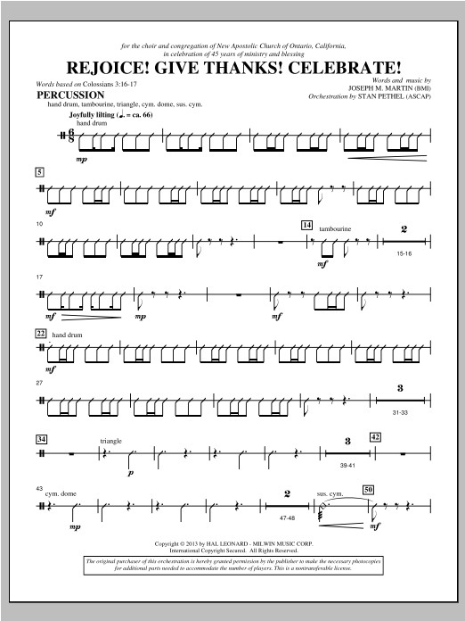 Rejoice! Give Thanks! Celebrate! - Percussion Sheet Music