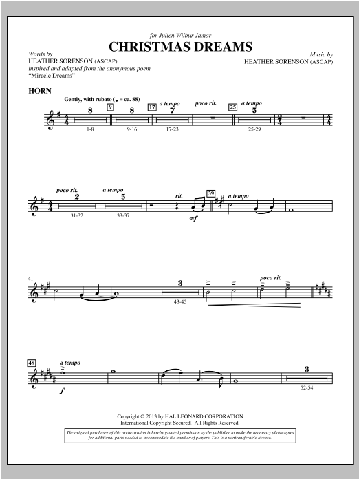 Christmas Dreams - F Horn Sheet Music