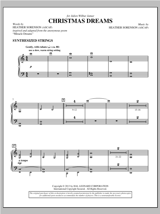 Christmas Dreams - Strings (Synth) Sheet Music