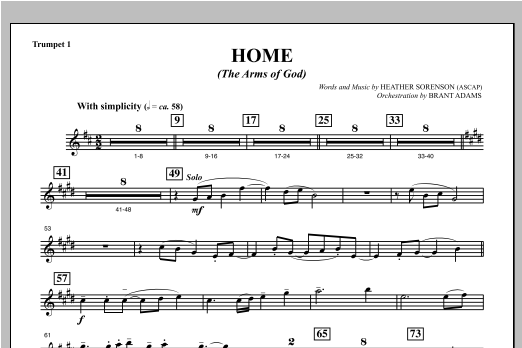 Home (The Arms of God) - Bb Trumpet 1 Sheet Music