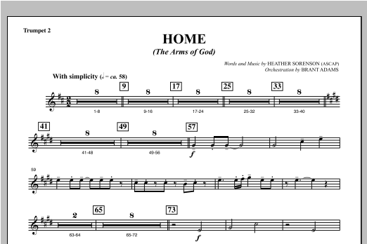 Home (The Arms of God) - Bb Trumpet 2 Sheet Music