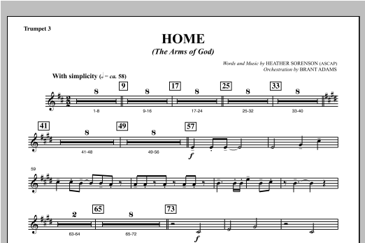 Home (The Arms of God) - Bb Trumpet 3 Sheet Music