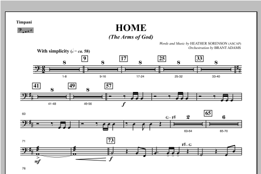 Home (The Arms of God) - Timpani Sheet Music