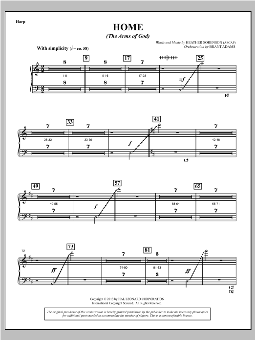 Home (The Arms of God) - Harp Sheet Music