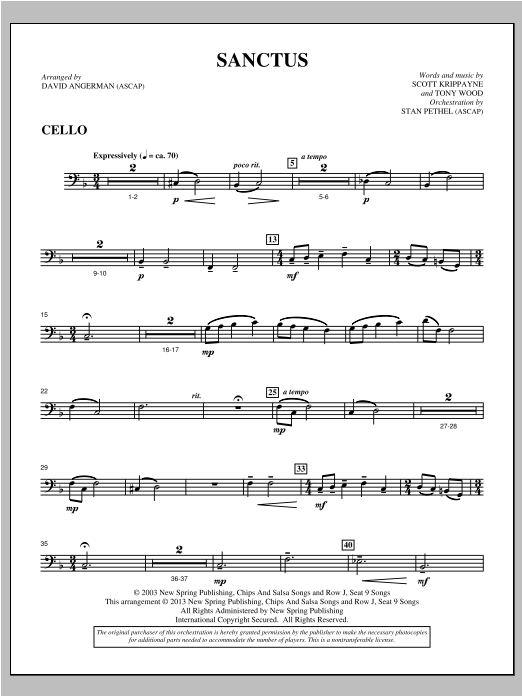 Sanctus - Cello Sheet Music