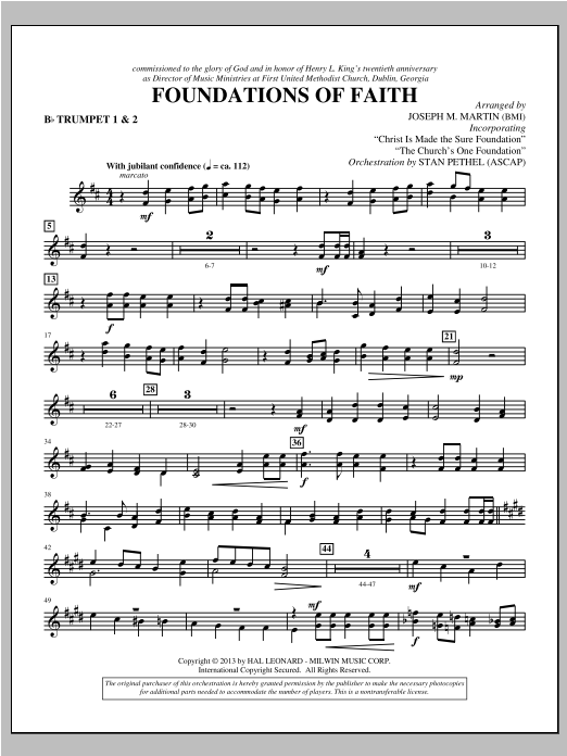Foundations of Faith - Bb Trumpet 1,2 Sheet Music