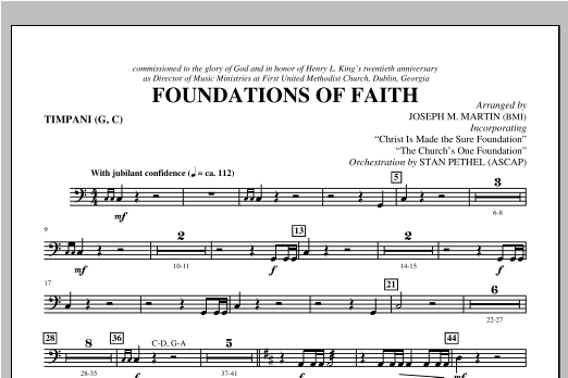 Foundations of Faith - Timpani Digitale Noten