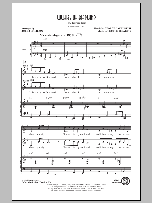 Lullaby Of Birdland (arr. Roger Emerson) Sheet Music