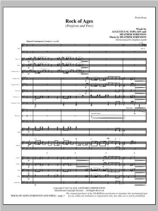 Rock of Ages (Forgiven and Free) (COMPLETE) sheet music for orchestra/band by Heather Sorenson. Score Image Preview.