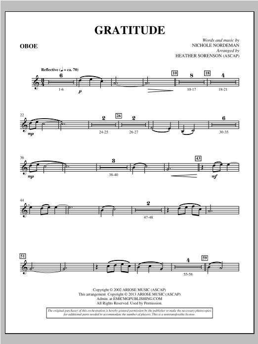 Gratitude - Oboe Sheet Music