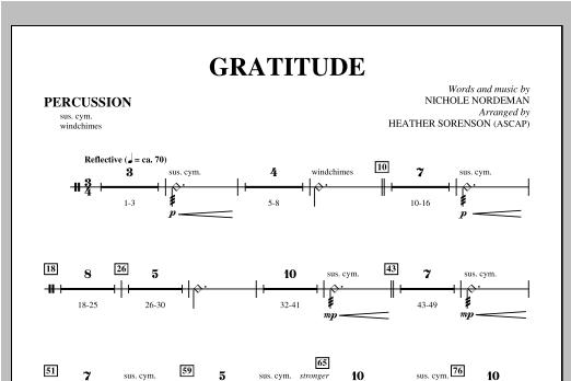 Gratitude - Percussion Sheet Music