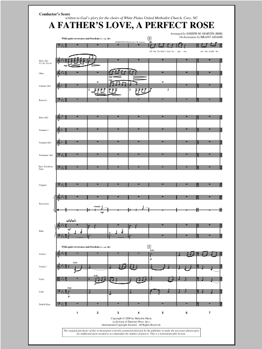 A Father's Love, A Perfect Rose (from Festival Of Carols) (COMPLETE) sheet music for orchestra/band by Joseph M. Martin. Score Image Preview.