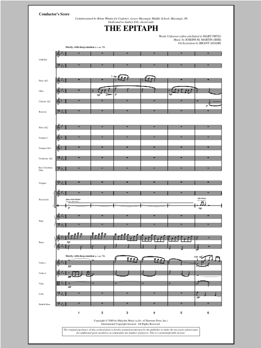 The Epitaph (COMPLETE) sheet music for orchestra/band by Joseph Martin and Joseph M. Martin. Score Image Preview.