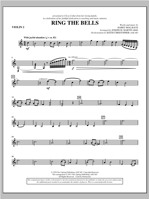 Ring the Bells - Violin 2 Sheet Music