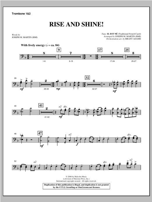 Rise And Shine! (from Ceremony Of Candles) - Trombone 1 & 2 Sheet Music