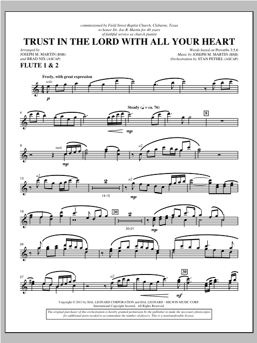 Trust In The Lord With All Your Heart - Flute 1 & 2 Sheet Music