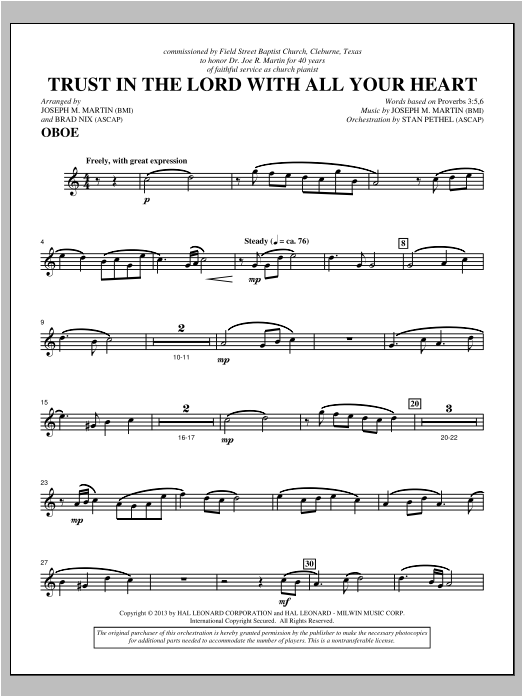 Trust In The Lord With All Your Heart - Oboe Sheet Music