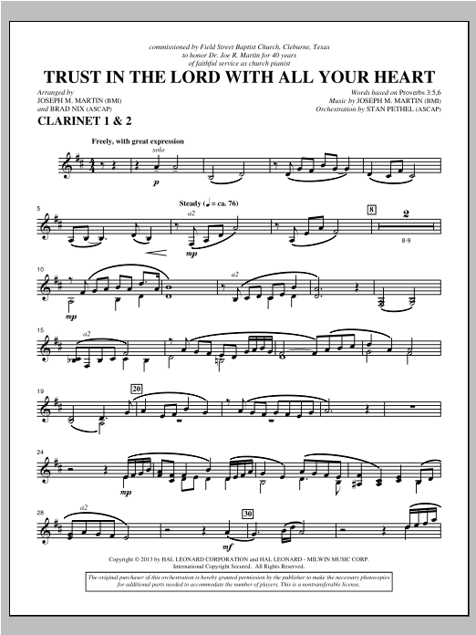 Trust In The Lord With All Your Heart - Bb Clarinet 1,2 Sheet Music