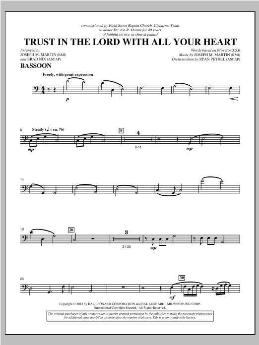 Trust In The Lord With All Your Heart - Bassoon Sheet Music