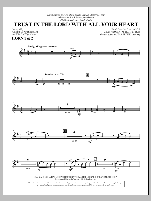 Trust In The Lord With All Your Heart - F Horn 1,2 Sheet Music