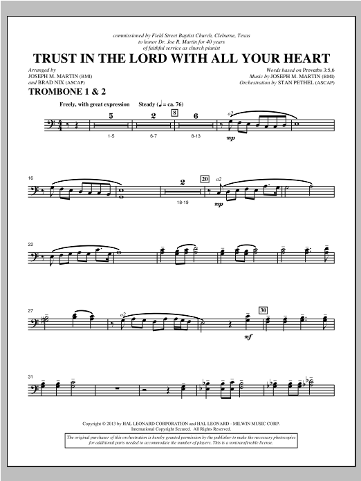 Trust In The Lord With All Your Heart - Trombone 1 & 2 Sheet Music