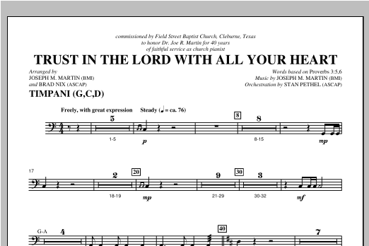 Trust In The Lord With All Your Heart - Timpani Sheet Music