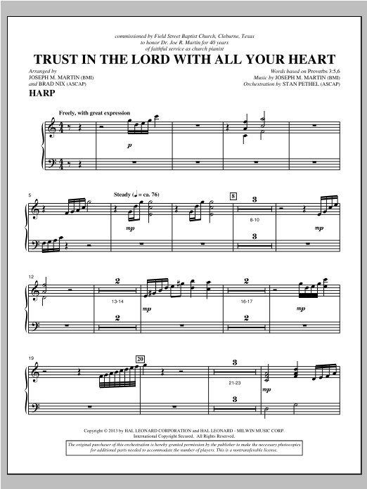 Trust In The Lord With All Your Heart - Harp Sheet Music