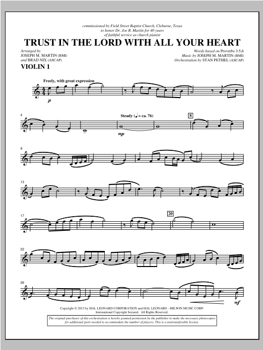 Trust In The Lord With All Your Heart - Violin 1 Sheet Music