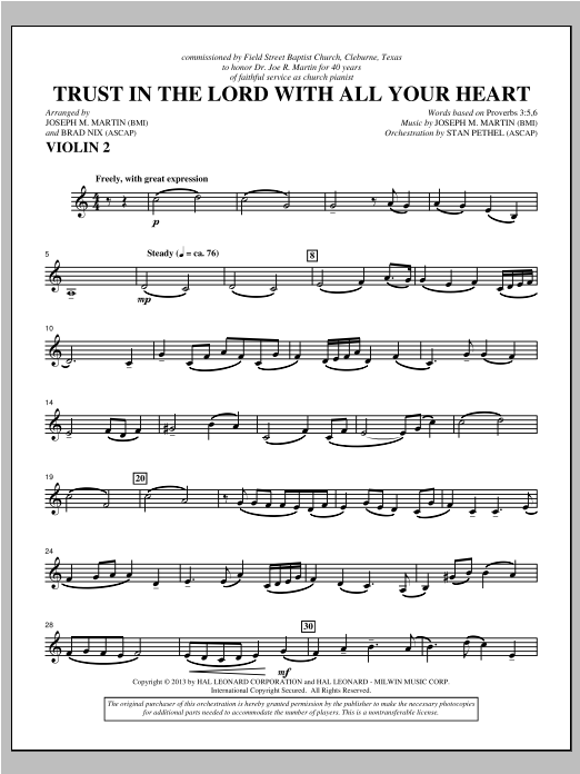 Trust In The Lord With All Your Heart - Violin 2 Sheet Music