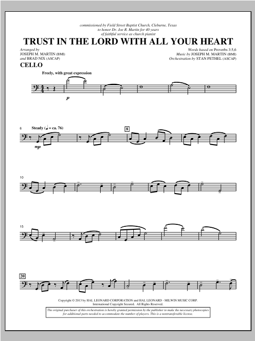 Trust In The Lord With All Your Heart - Cello Sheet Music