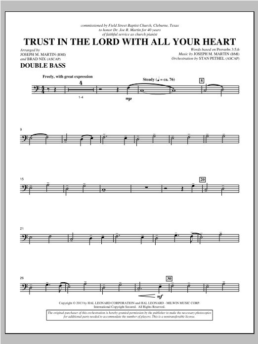 Trust In The Lord With All Your Heart - Double Bass Sheet Music